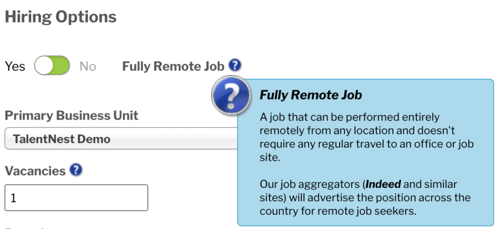 Remote Job Option